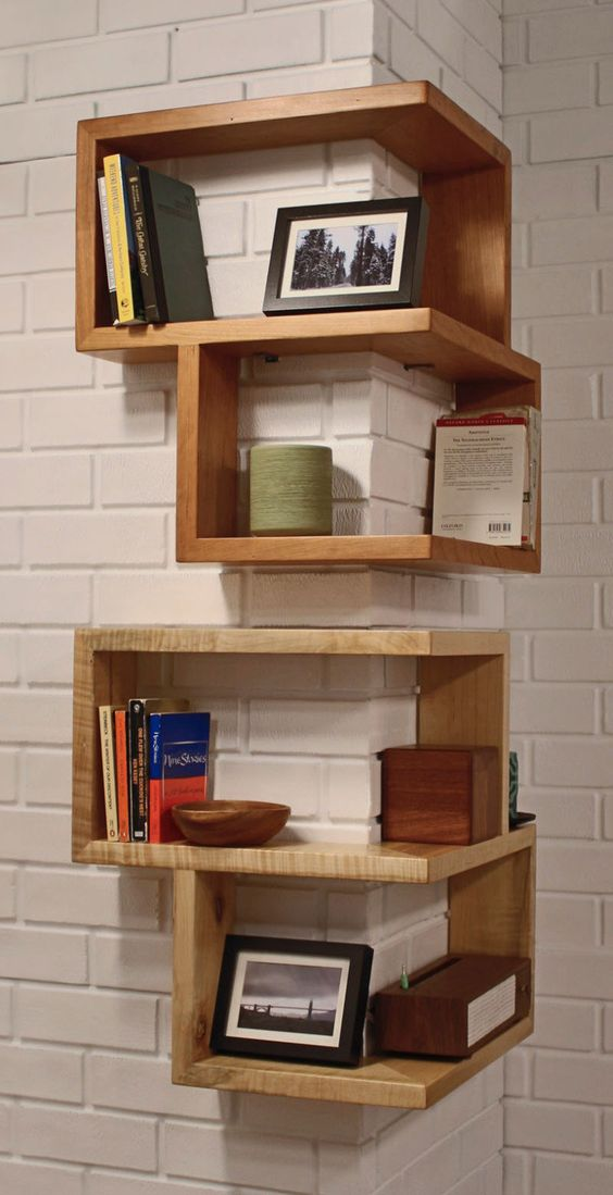 two sided bookshelves made of natural wood