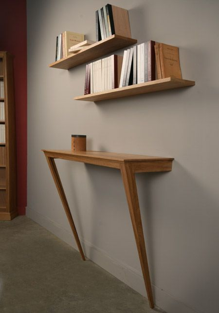 wall mounted hall console with pointed legs wooden bookshelves