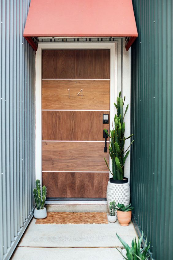 wood front door in modern minimalist style