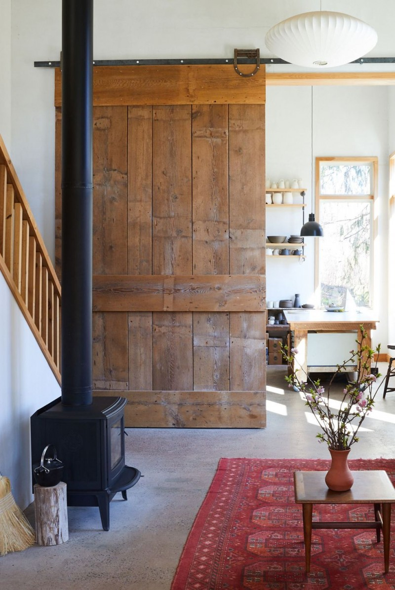 wooden ledged & framed door