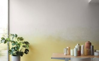 yellowish splash of color on wall minimalist furniture set white potted houseplants