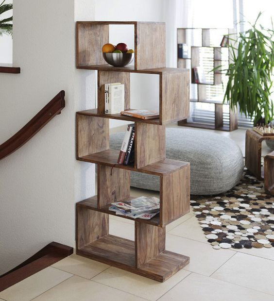 zigzag wooden book shelf