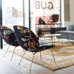 Beetle Lounge Chair With Colored Floral Patterns And Gold Finish Legs
