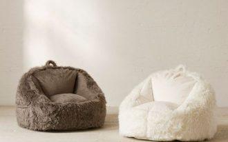 Faux fur shag bean bags in white and dark brown