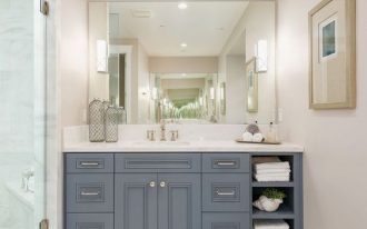 Gray Dior by Benjamin Moore for vanity cabinetry