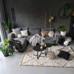 L Shaped Couch In Velvet Gray White Couch Pillows Two Round Top Coffee Table In Black Midcentury Modern Rocking Chair Vintage Moroccan Rug In White With Modern Lines Po