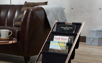 contemporary magazine rack with rose gold frame and black linen pockets