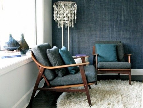 denim colored wallpaper denim colored chairs with wood structure fury area rug in white ornate floor lamp in white