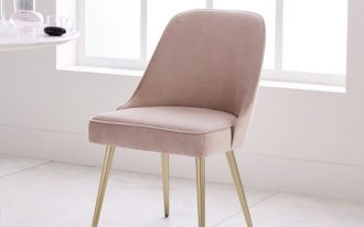 dusty pink dining chair in midcentury modern style rose gold finish legs