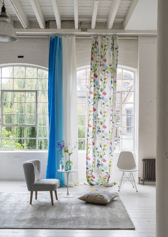 highest curtains with floral motifs white blue curtains smaller seat in gray floor pillow scandinav style chair in white light gray area rug
