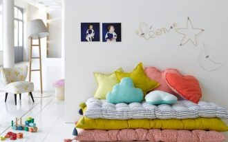 kids playground colorful layers of floor futons with colorful throw pillows small chair for kids