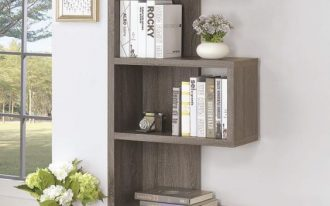 modern bookcases with gray finishing