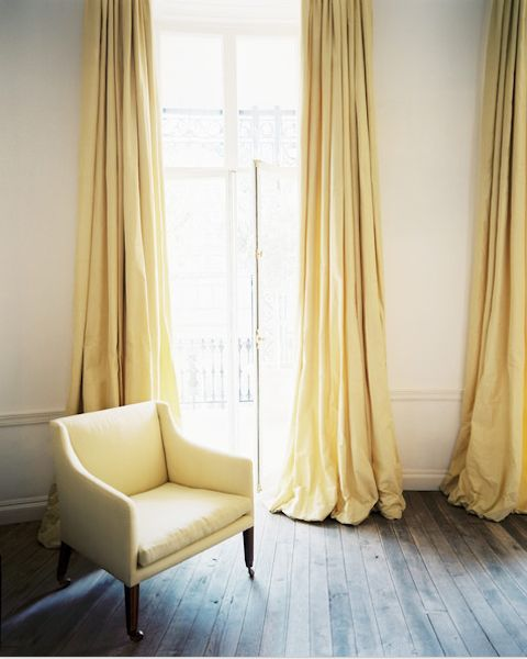 puddled curtains in sunny yellow color