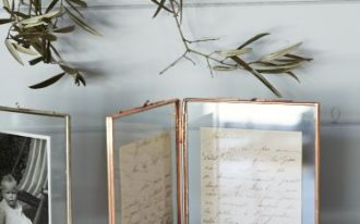 rose gold frame idea with hinges and glass photography surface