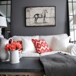 Serious Gray Wall Paint By Sherwin Williams White Couch With Red Couch Pillow Gray Top Coffee Table