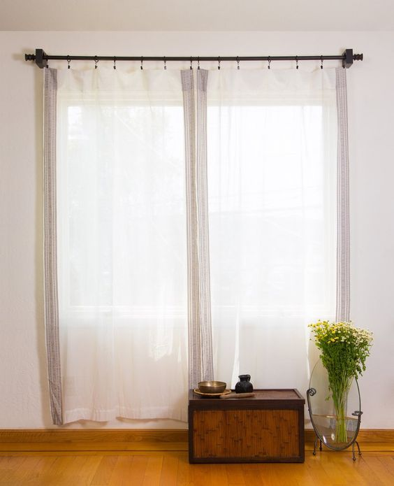 sheer curtain hardwood side table giant glass vase for vivid flowers