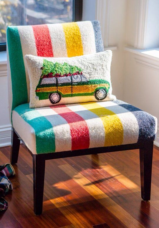 simple chair with colorful stripes pattern