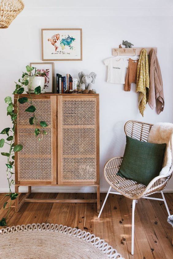 small living room simple bamboo chair with green throw pillow old school storage solution with pored door panel