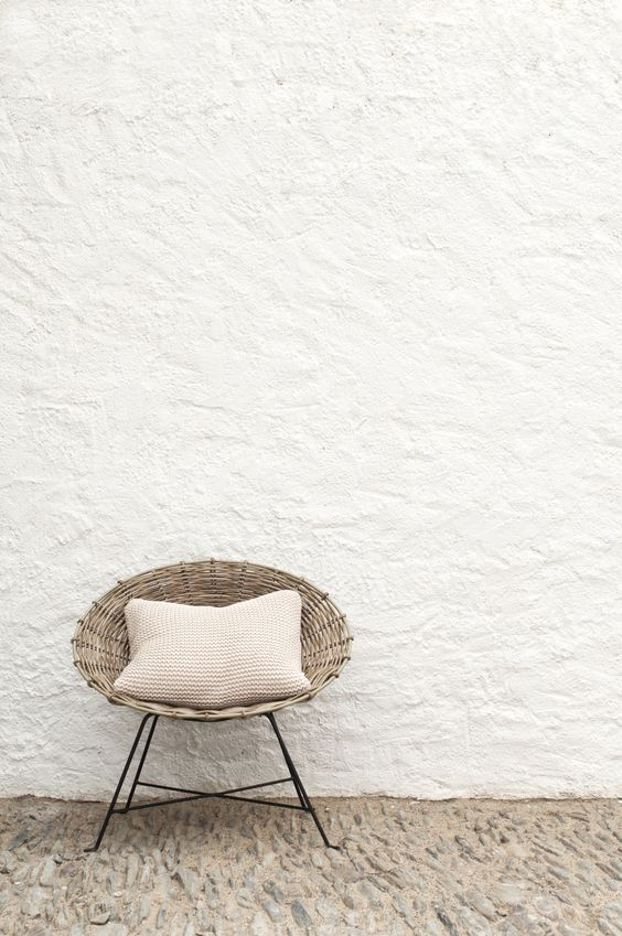 tileable stucco plaster in white rattan chair in modern style textured floors in beige