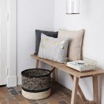 Tiny Hallway Idea Light Wood Bench Seat Ornate Basket Stucco Floors Modern Pendant