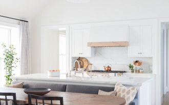 transitional open concept space dining space kitchen space butcher block dining table shaker door kitchen cabinets