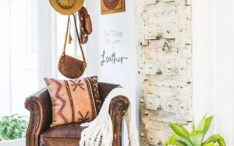 Bohemian seating corner vintage leather chair in copper tone