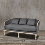 French Country Couch In Gray With Curves