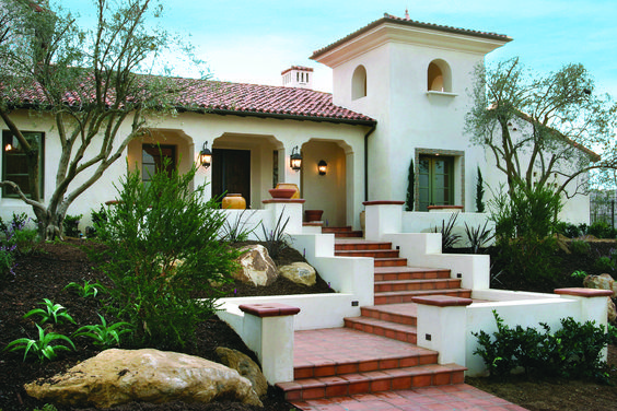 Spanish Colonial style exterior with bell tower whie stucco exterior walls