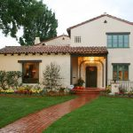 Spanish Inspired California House With White Stucco Exterior Walls Arched Roofs Curved Grand Gate Terracotta Step Way