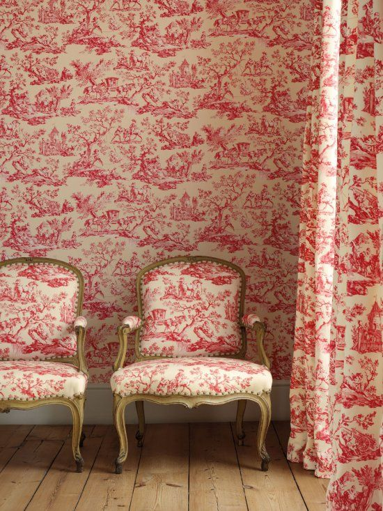 Toile patterned wallpaper toile patterned armchairs toile patterned drapery