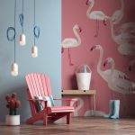 Blue Pink Wall Idea With Swan Creative Arts Ornate Pendants In White Pink Painted Wood Chair Potted Sucullents