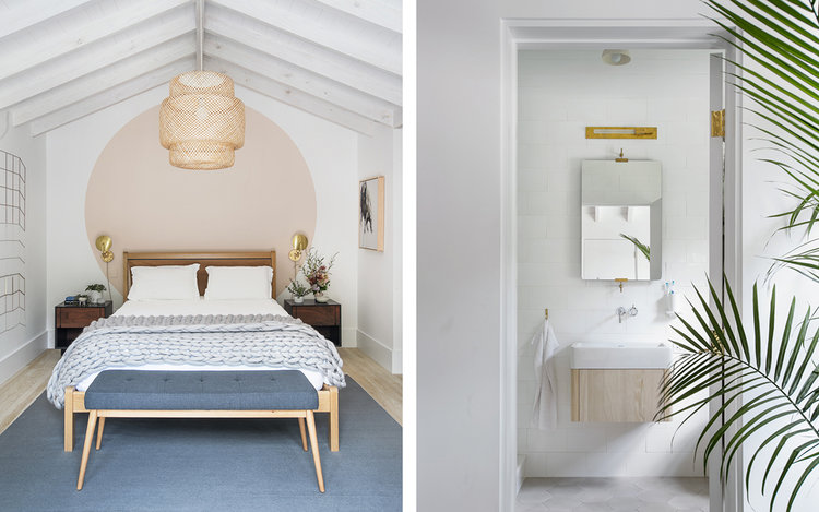 good symmetry layouts of bedroom and bathroom midcentury modern bed frame with headboard blue area rug couple of bedside table with gold toned table lamps oversized pendant with bamboo net