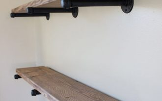 handmade pipe shelving idea in rustic style