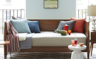 midcentury wood daybed in simple and clean lined preview