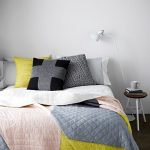 Minimalist Bedroom With Colorful Comforter And Pillowcase