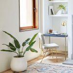 Purely White Ceramic Planter For Indoor Brass Structured Working Chair Brass Structured Working Desk Open Shelving Unit