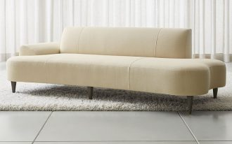 semi curve daybed with casual upholstery white shag rug