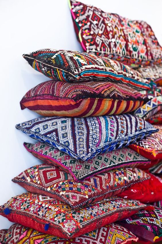 throw pillows in Bohemian style