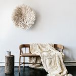 Wood Bench Seat With Back Rest Light Cream Throw Blanket With Wooly Texture Black Painted Wood Board Floors Log Side Table Ornate Wall Accesory