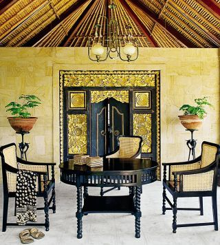 Bali inspired dining room traditional Bali dining furniture set traditional door with traditional carvings exposed wood roofs traditional chandelier