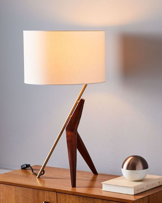 Caldas table lamp with midcentury modern wood base and linen shade