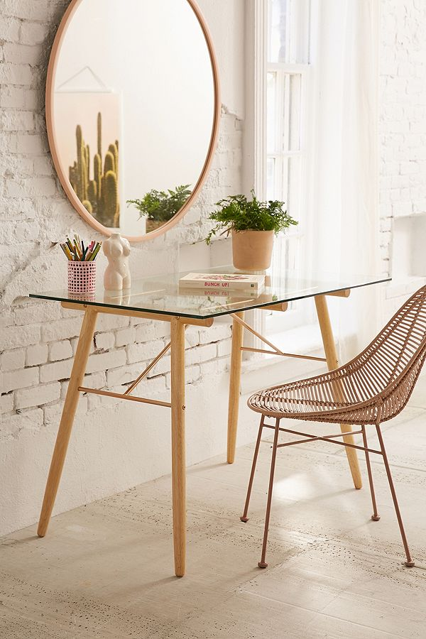 Gabriella side table with tempered glass top wood frame and rose gold hardware