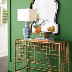 Kelly Green Wall Brass Base Console Table Metal Framed Wall Mirror