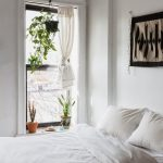 All White Bedroom White Curtains Trio Greenery On Pot Fabric Wall Decor White Bed Linen White Comforter White Pillows