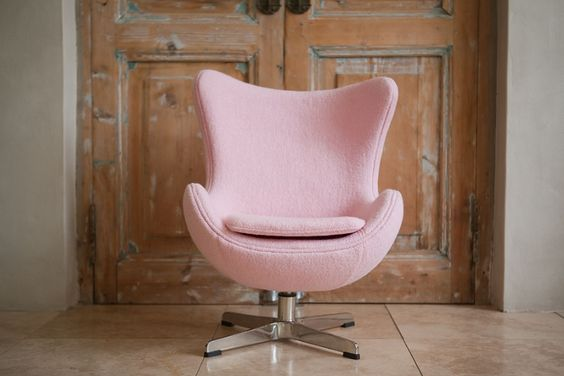 baby pink egg chair made of wool cashmere