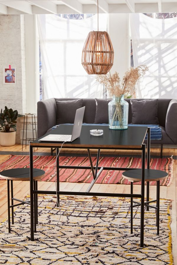 basic table in black two stools in black