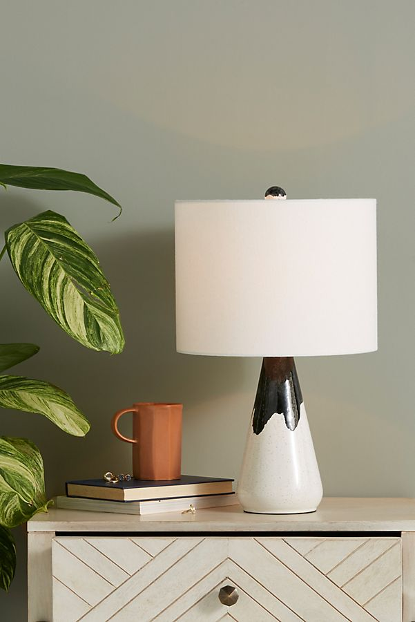 ceramic base table lamp with crisp white lampshade