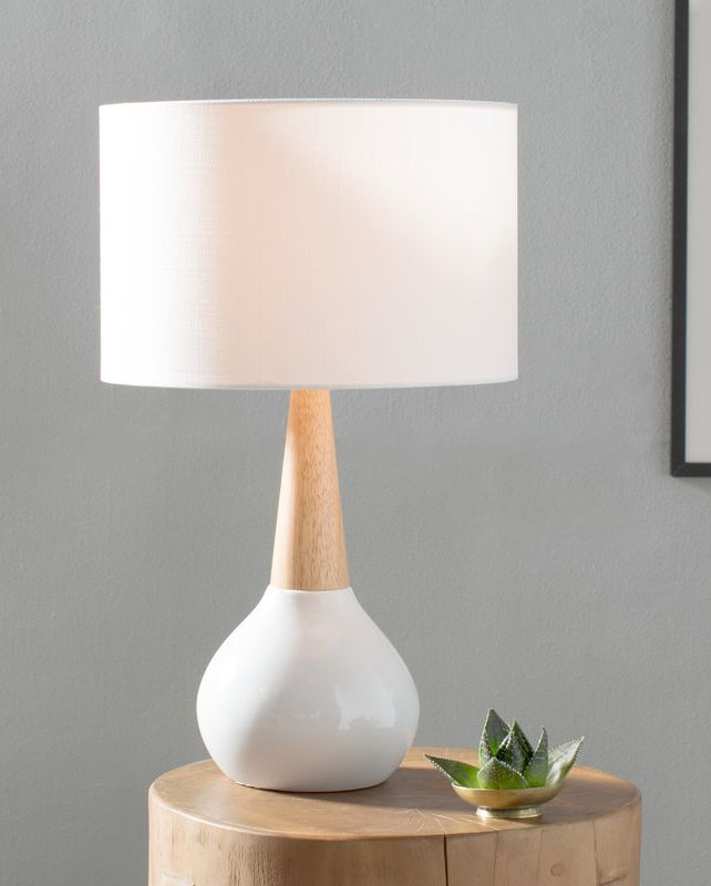 ceramic wood base table lamp with white line lampshade log bedside table a little sucullent on metal planter