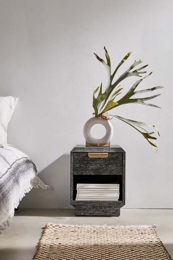 dark tone nightstand with metal hardware and angled edges