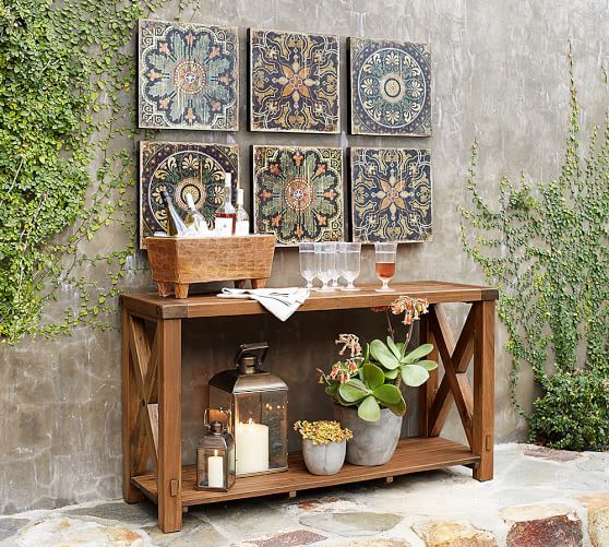 ethnic print wood tile ornament for accent wall wood display table